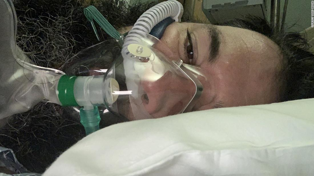 Terry Greear took this selfie on the first day of his 72-day hospital battle with Covid-19.