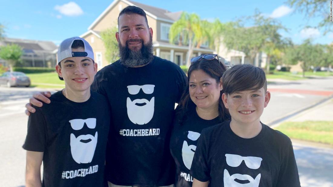 The Greear family wears their #CoachBeard T-shirts after Terry Greear beat the coronavirus.