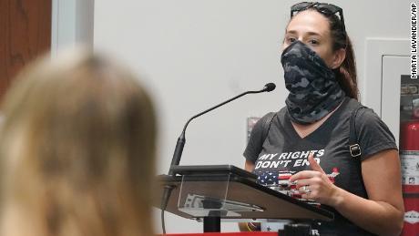 Jenna Hague speaks at the Broward School Board's emergency meeting on Wednesday, July 28, in Fort Lauderdale.