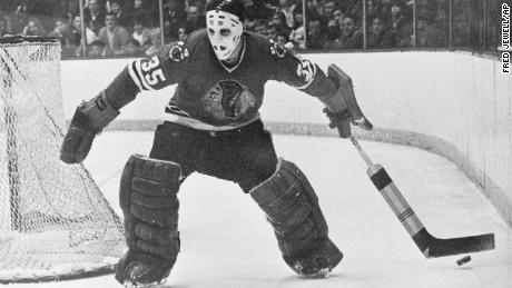 Chicago Blackhawks goalie Tony Esposito moves behind the net to stop the puck for a teammate during a game against the Toronto Maple Leafs in Chicago on January 25, 1970.
