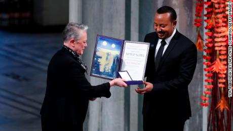 Abiy receives the Nobel Peace Prize during a ceremony in Oslo, Norway, in December 2019.