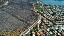 This aerial photo shows a wildfire-affected area in Mugla, Turkey, on Wednesday, August 11.