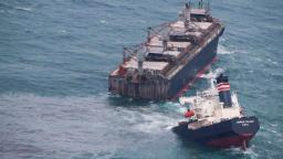 Ship runs aground and splits in two in Japan