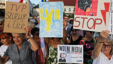 """People attend """"Free media"""" protest in Wadowice, Poland on August 10, 2021."""