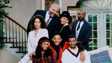 """Tatyana Ali, Will Smith, Alfonso Ribeiro, Karyn Parsons, James Avery, Daphne Reid and Joseph Marcell in """"The Fresh Prince of Bel-Air."""""""