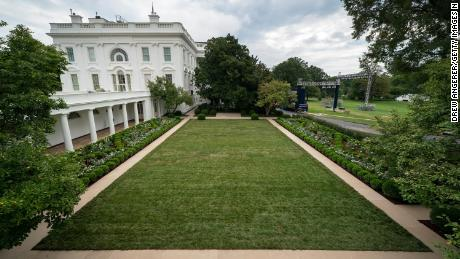A view of the Rose Garden at the White House post-renovation on August 22, 2020 in Washington, DC.