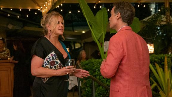 """Jennifer Coolidge, left, as Tanya and Murray Bartlett, right, as Armond on """"The White Lotus."""""""