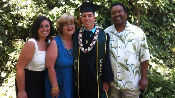 Sarah Gaither, left, and her parents Kathy and Clifford pose with her brother Adam who graduated college in 2012.