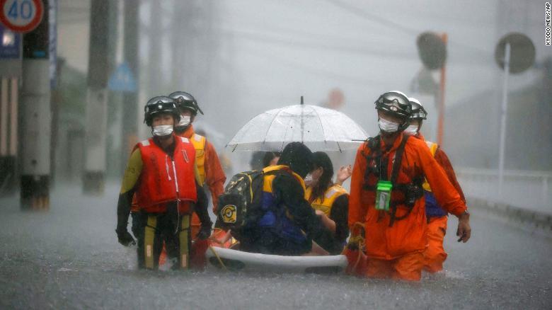 Five million people under evacuation order in Japan as rain batters south coast