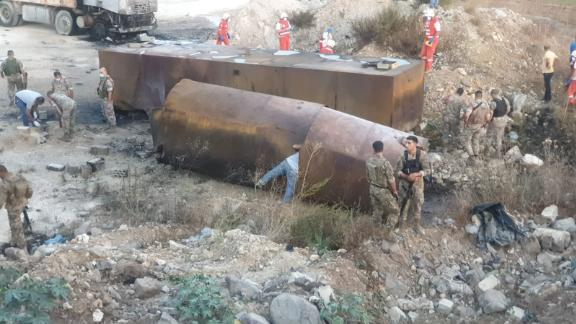 At least 20 people were killed when a fuel tanker exploded in northern Lebanon on Sunday.
