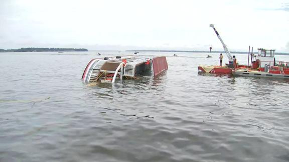 The double-decker boat capsized on Lake Conroe, about 40 miles north of Houston.
