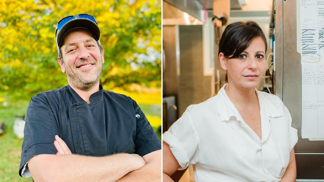 Chefs Nadav Mille and Amanda Cohen.