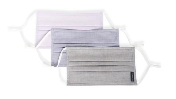 Reusable Poplin Pleated Fabric Face Mask, 3-Pack