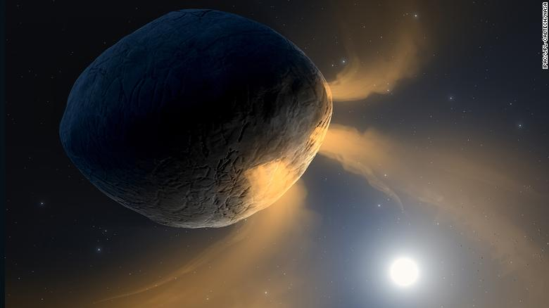 This illustration shows asteroid Phaethon as it becomes heated by the sun.