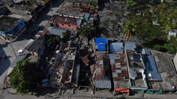 An aerial view of collapsed buildings in Les Cayes.