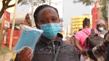 Jane Wangari Kahemu, a mask vendor in Nyeri