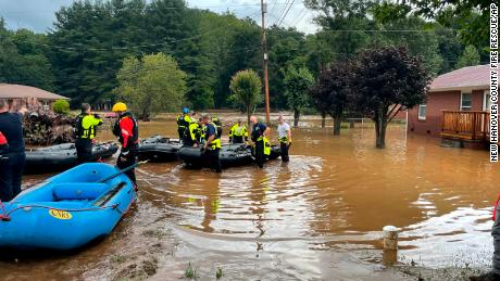 Authorities said that dozens of water rescues were performed after the remnants of Tropical Storm Fred dumped rain on the mountains of North Carolina.