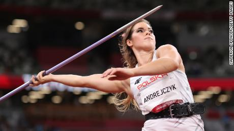 Andrejczyk competes in the women's javelin final at the Tokyo 2020 Olympic Games.