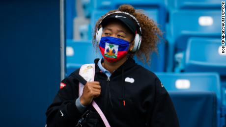 Naomi Osaka wears a Haiti face mask ahead of her second round match at the Western & Southern Open.