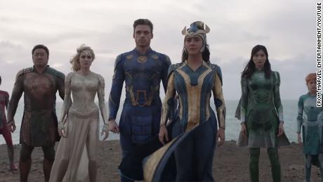 """Une scène du prochain """"Eternals"""","""" Le prochain blockbuster sur grand écran de Marvel."""