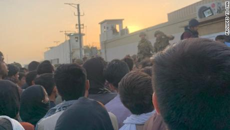 Sara spent Tuesday night standing in crowds outside Kabul's international airport, trying to get a flight out.