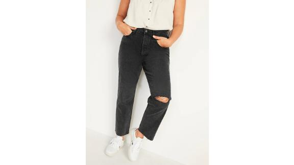 Extra High-Waisted Button-Fly Sky-Hi Straight Black Ripped Jeans for Women