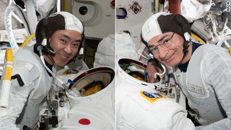 JAXA astronaut Akihiko Hoshide (left) and NASA astronaut Mark Vande Hei (right) are pictured on the space station.
