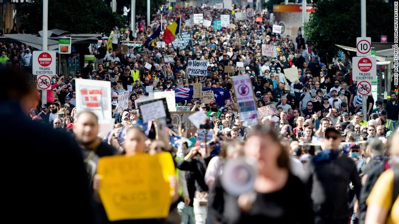 Australia suffers its worst day of Covid-19 pandemic as anti-lockdown protests flare