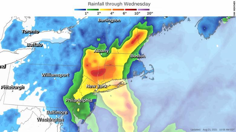 Forecast rainfall from Hurricane Henri.