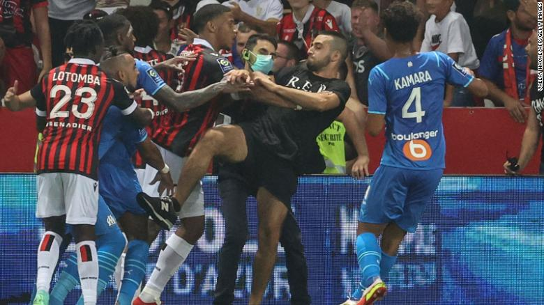 Nice vs. Marseille: French top-flight league match abandoned after fans invade pitch and clash with players