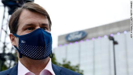 Ford's CEO Jim Farley is seen before the unveiling of the new electric F-150 Lightning truck outside of headquarters in Dearborn, Michigan in May.