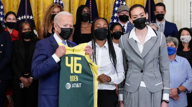 Biden praises WNBA champion Seattle Storm for their work on and off the court during White House visit