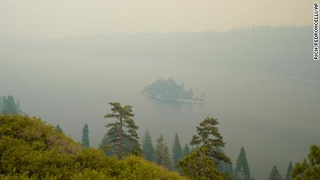 Lake Tahoe's Emerald Bay was shrouded in smoke from the Caldor Fire on Tuesday.