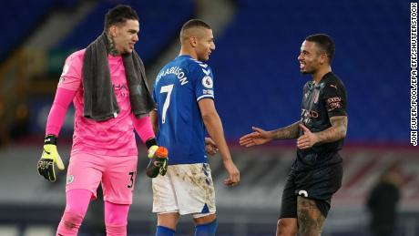 Richarlison of Everton (middle) and Gabriel Jesus (right) and Ederson (left) of Manchester City would not be able to travel to appear for Brazil.