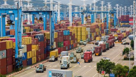 The port of Ningbo-Zhoushan, pictured August 15, 2021, in east China's Zhejiang Province.  According to an advisor, the Meishan Terminal accounts for an estimated 25% of the container freight through the port.
