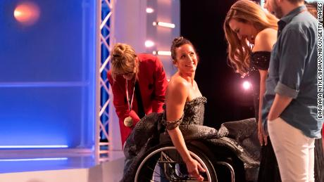 """McFadden during a Project Runway """"Olympic Game Plan"""" episode."""