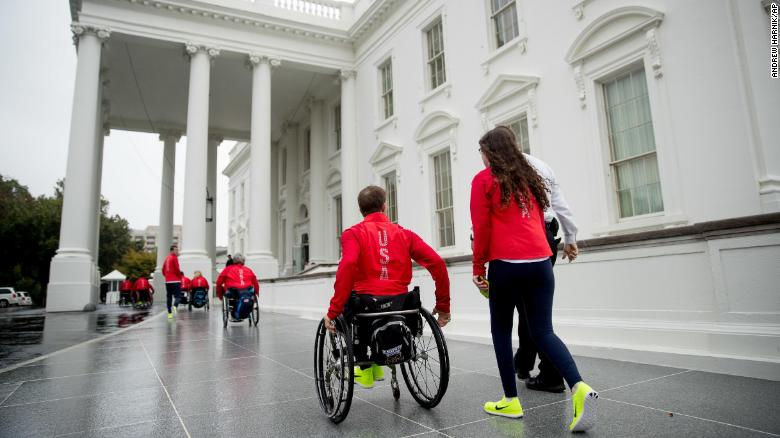 Paralympian says he had to be pulled through White House kitchen lift because 'they didn't have an elevator'