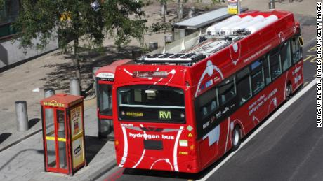 A gray hydrogen powered bus in London, England on September 11, 2020.
