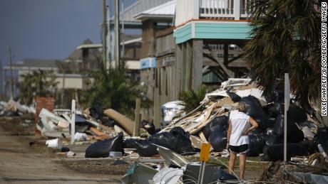 The aftermath of Hurricane Delta in Holly Beach, Louisiana, on Oct. 11, 2020. Delta weakened to a tropical depression as it moved inland over northeastern Louisiana, drenching an area still recovering from the onslaught of Hurricane Laura.
