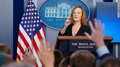 White House press secretary Jen Psaki speaks during the daily briefing on August 27 at the White House.
