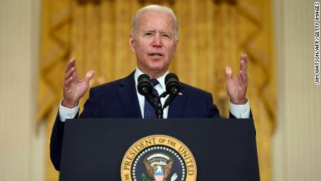 US President Joe Biden delivers remarks on the terror attack at Hamid Karzai International Airport, and the US service members and Afghan victims killed and wounded, in the East Room of the White House, Washington, DC on August 26, 2021.