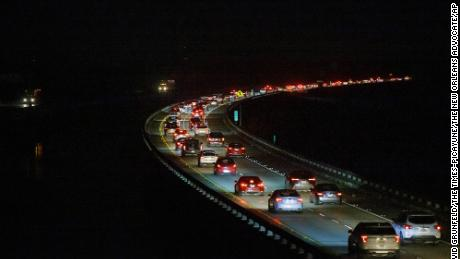 Westbound I-10 traffic was heavy on the Bonnet Carré Spillway early on Saturday, Aug. 28, 2021, as many New Orleans area residents evacuate ahead of Hurricane Ida.