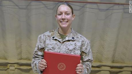 """In this image posted to her Instagram account three weeks ago, Gee wrote, """"Never would have imagined having my Sergeant promotion meritoriously in Kuwait."""""""