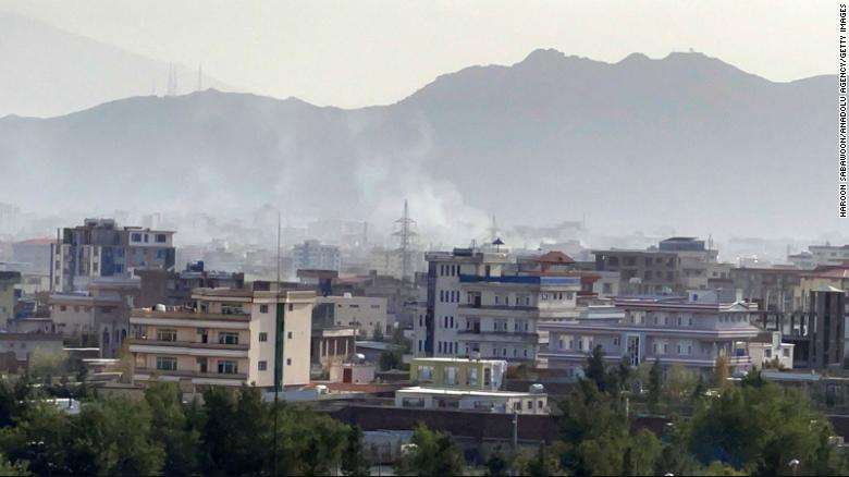 Smoke rises after an explosion in Kabul, Afghanistan on Sunday.