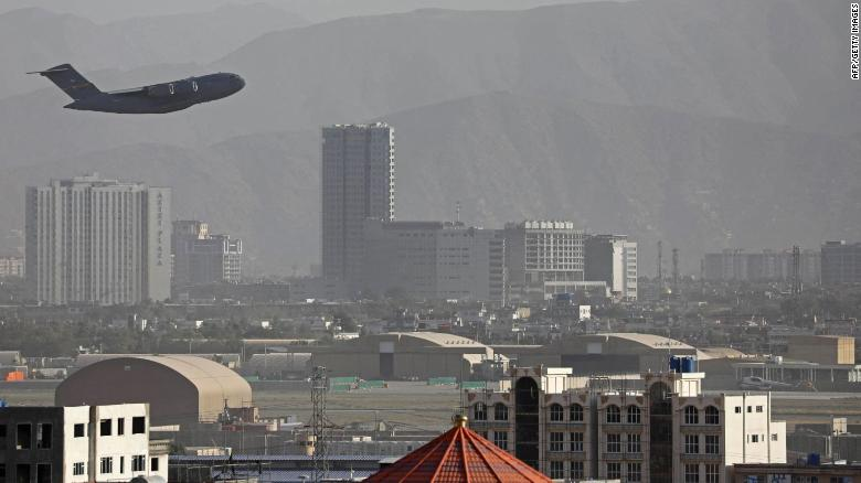 A US Air Force aircraft takes off from the military airport in Kabul on August 27, in the closing days of a huge US airlift operation.