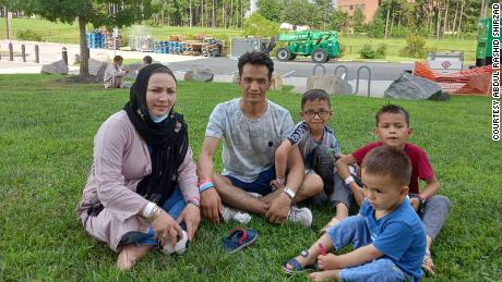Abdul Rashid Shirzad and his family at Fort Lee, Virginia, where they were taken after being evacuated for Washington, DC.