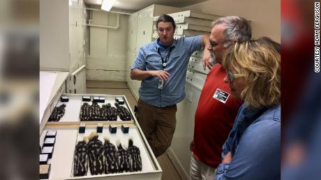 Adam Ferguson (extremo izquierdo) y sus invitados aparecen en las colecciones del Field Museum con especímenes de zorrillos manchados.