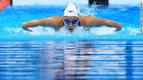 Shepherd competes in the 200m individual medley at the Tokyo Paralympics.