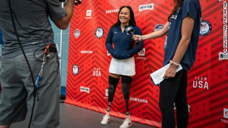 Shepherd is interviewed at the US Paralympic trials earlier this year.