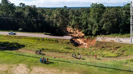 This aerial image shows a collapsed section of Highway 26 west of Lucedale, Mississippi.